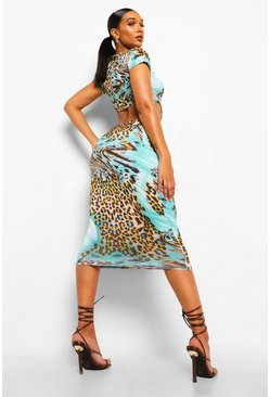Green Animal Print Shoulder Pad Knot Cut Out Midi Dress