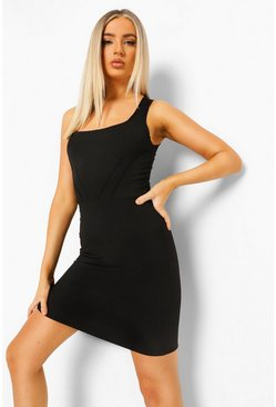 Black Rib Corset Detail Exposed Seam Mini Dress