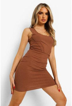 Chocolate brown Rib Corset Detail Exposed Seam Mini Dress