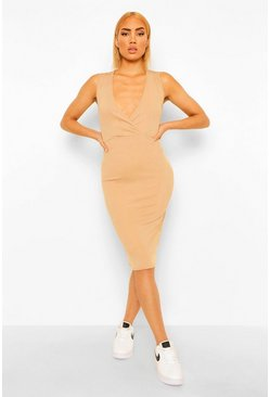 Stone beige Rib Wrap Exposed Seam Midi Dress