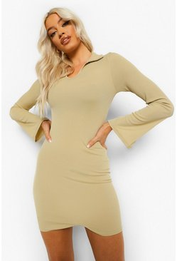 Sage green Collar Detail Cut Out Hem Mini Dress