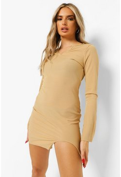 Stone beige Rib Cut Out Hem Split Sleeve Mini Dress