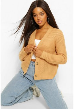 Camel beige Fisherman V Neck Cardigan