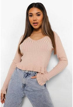 Rose pink Ruffle V Neck Jumper