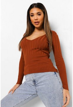 Cinnamon brown V Neck Jumper