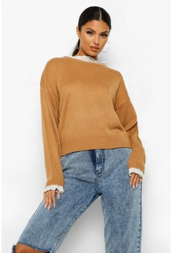 Camel beige Lace Detail Crew Neck Sweater