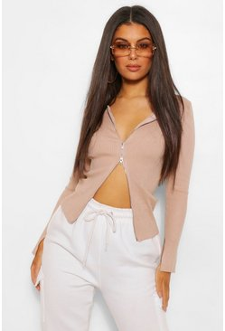 Beige 2 Way Zip Cardigan