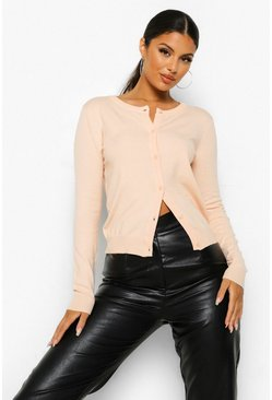 Blush pink Soft Knit Button Through Cardigan