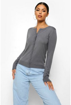 Charcoal grey Soft Knit Button Through Cardigan