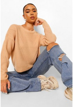 Biscuit Pointelle Boxy Jumper