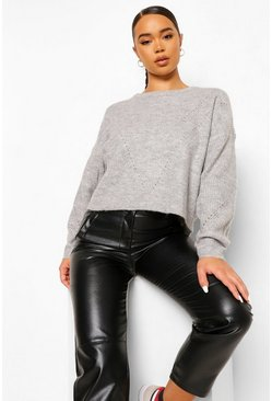 Dove grey Pointelle Boxy Jumper