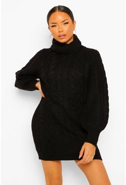 Black Roll Neck Cable Knit Jumper Dress