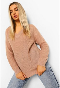 Raglan Sleeve Fisherman Jumper, Almond beige