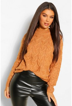 Camel beige All Over Cable Jumper
