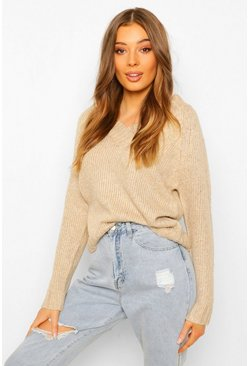 V Neck Jumper, Beige