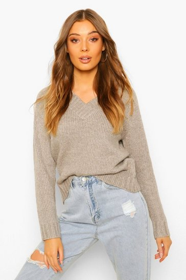 Pale grey grey V Neck Jumper