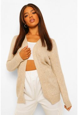 Beige Edge To Edge Pocket Cardigan