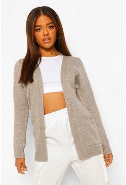 Pale grey grey Edge To Edge Pocket Cardigan