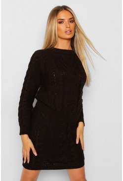 Black Knitted Jumper Skirt Co-ord