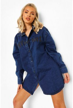 Dark blue blue Oversized Slogan Denim Shirt Dress