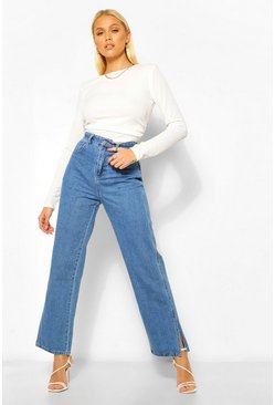 Dark blue blue High Waist Split Hem Jean