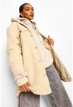 Cream white Oversized Teddy Faux Fur Shacket