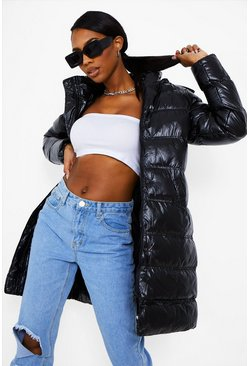 Black Faux Fur Trim High Shine Parka