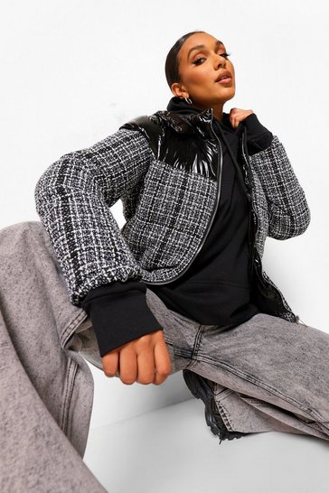 Black Check Panel Puffer Jacket