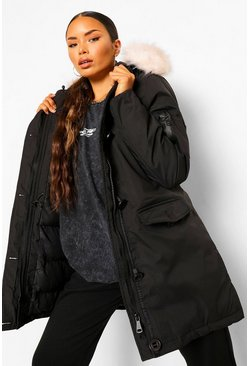 Faux Fur Trim Sporty Parka, Black negro