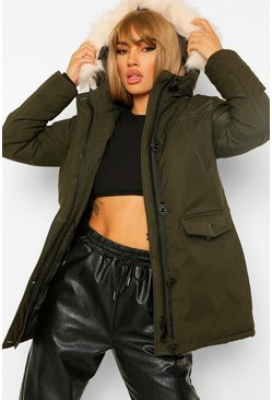 Faux Fur Trim Sporty Parka, Khaki kaki