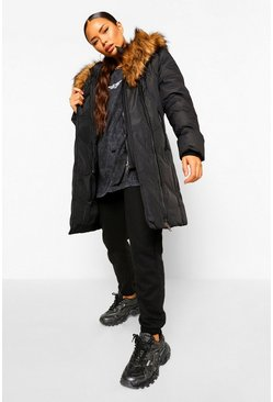 Faux Fur Trim Hood Parka, Black negro