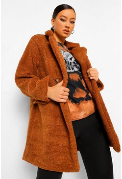Double Breasted Teddy Faux Fur Coat, Ginger orange