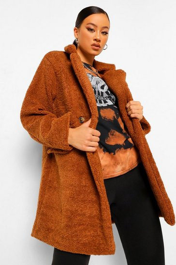 Ginger orange Double Breasted Teddy Faux Fur Coat