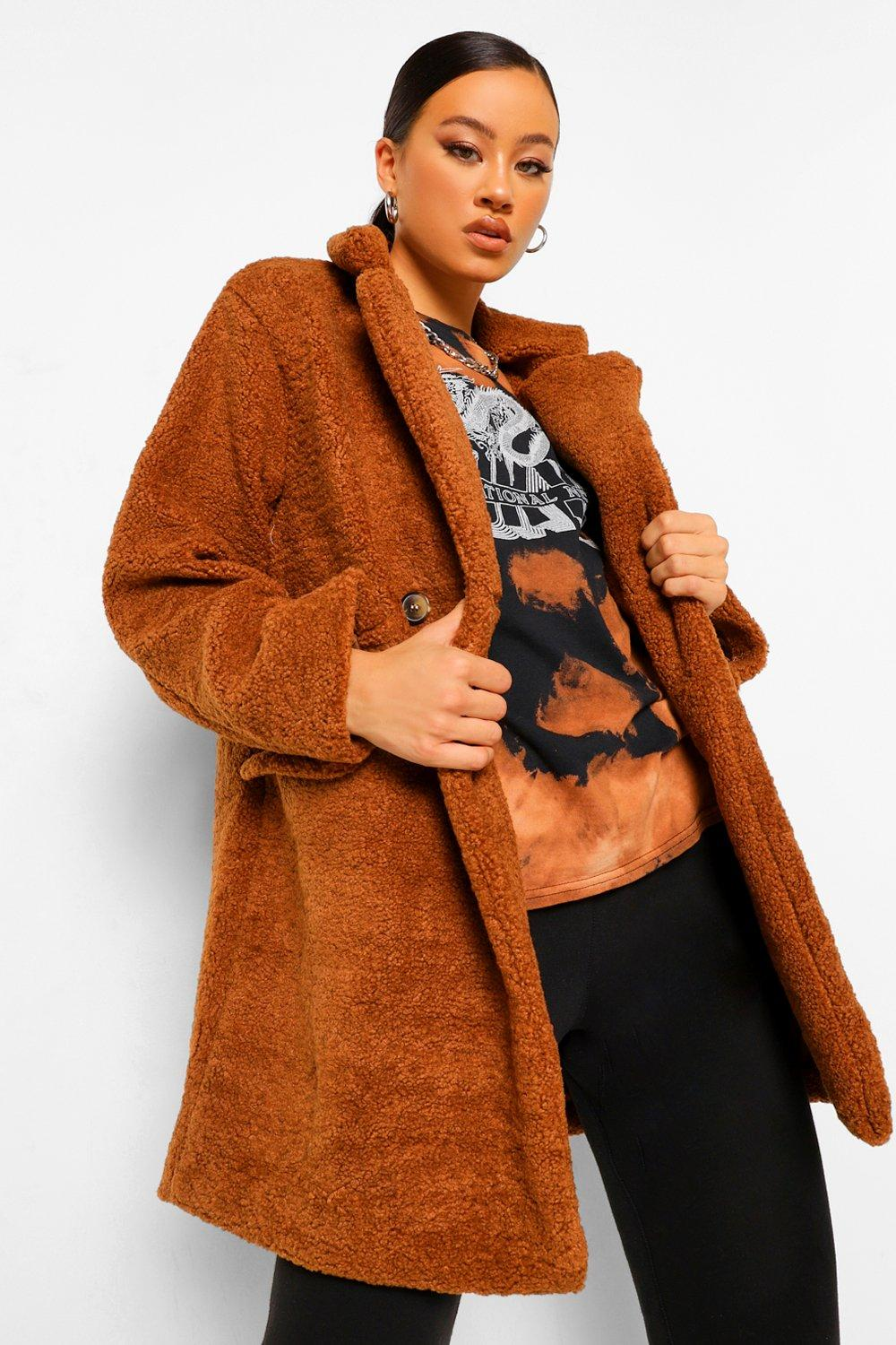COATS & JACKETS Double Breasted Teddy Faux Fur Coat