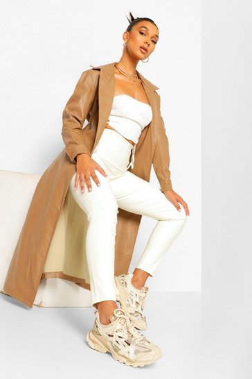 Camel beige Faux Leather Trench Coat