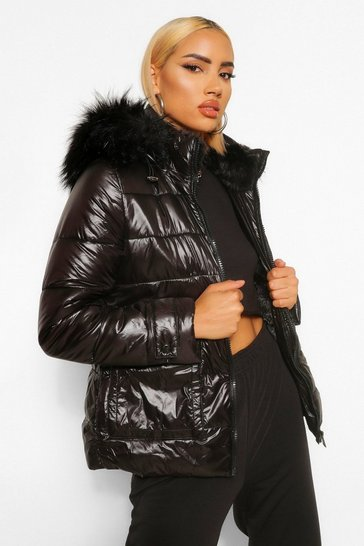 Black Faux Fur Lined High Shine Puffer