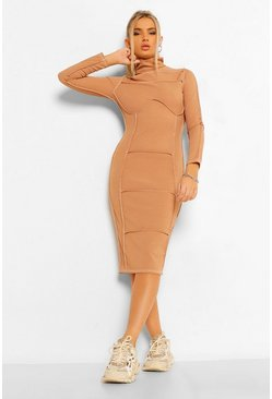 Camel beige Contrast Stitch High Neck Midi Dress