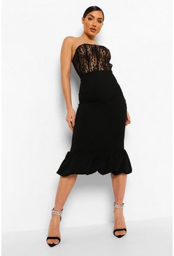 Black Lace Corset Puff Hem Midaxi Dress