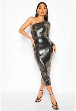 Black Leopard Sequin one Shoulder Midaxi Dress