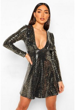 Black Leopard Sequin Plunge Mini Dress