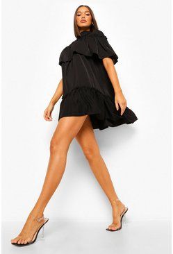 Black High Neck Ruffle Smock Dress
