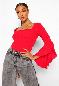Red Rib Square Neck Flared Sleeve Bodysuit
