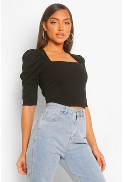 Black Crepe Square Neck Puff Sleeve Crop Top