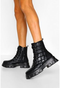 Black Quilted Chunky Cleated Platform Hiker Boots