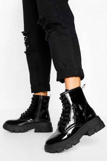 Black Chunky Cleated Platform Hiker Boots