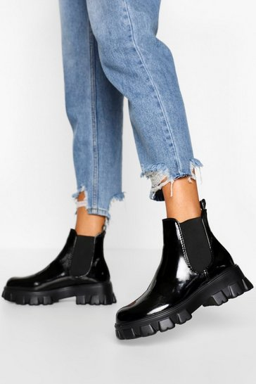 Black Chunky Cleated Platform Chelsea Boots