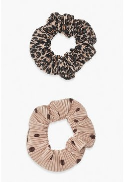 2 Pack Plisse Printed Scrunchies, Brown marron
