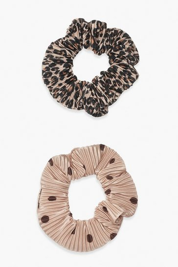 Brown 2 Pack Plisse Printed Scrunchies