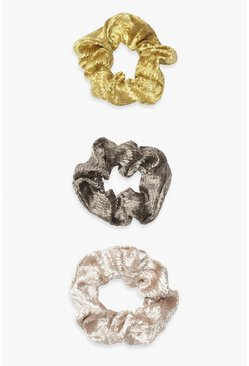 Grey 3 Pack Jaquard Animal Scrunchies