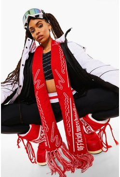Red Woman Ski Slogan Scarf